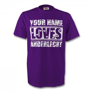 Your Name Loves Anderlecht T-shirt (purple) - Kids
