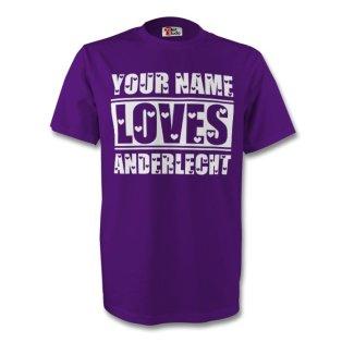 Your Name Loves Anderlecht T-shirt (purple) - Kids