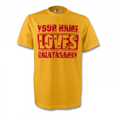 Your Name Loves Galatasaray T-shirt (yellow) - Kids