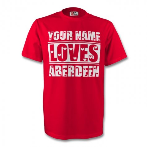 Your Name Loves Aberdeen T-shirt (red)