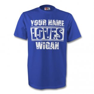 Your Name Loves Wigan T-shirt (blue) - Kids