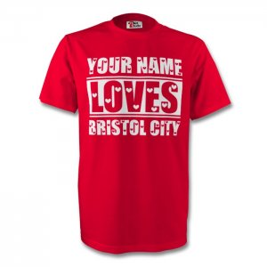 Your Name Loves Bristol City T-shirt (red) - Kids
