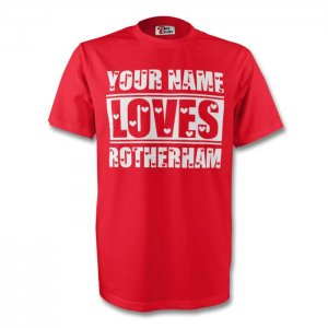 Your Name Loves Rotherham T-shirt (red)