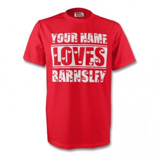 Your Name Loves Barnsley T-shirt (red) - Kids
