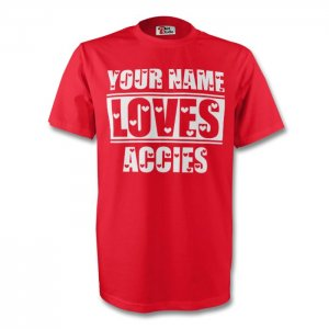 Your Name Loves Accies T-shirt (red)