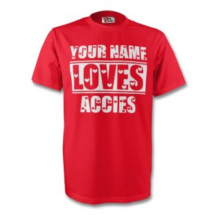 Your Name Loves Accies T-shirt (red) - Kids