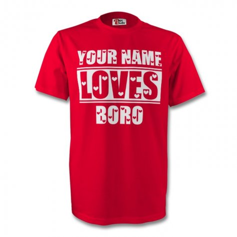 Your Name Loves Boro T-shirt (red)