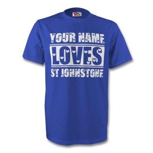 Your Name Loves St Johnstone T-shirt (blue) - Kids