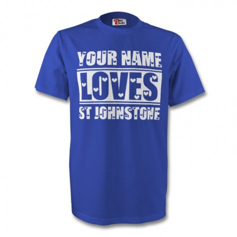 Your Name Loves St Johnstone T-shirt (blue) - Kids