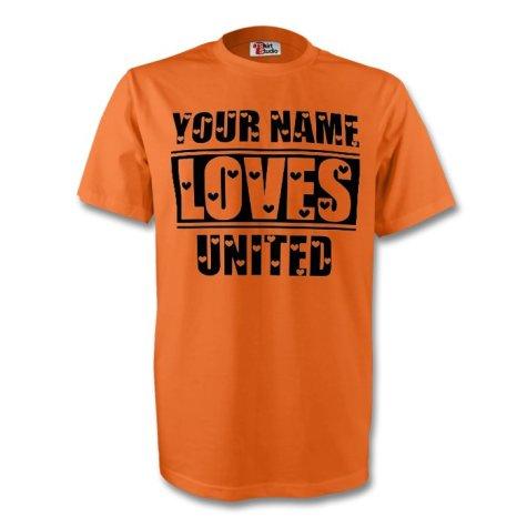 Your Name Loves United T-shirt (orange)