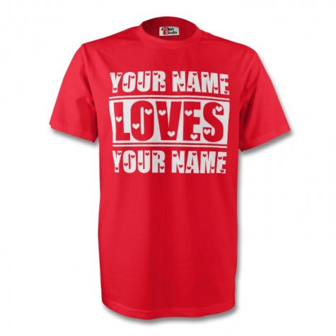 Your Name Loves Your Name T-shirt (red) - Kids
