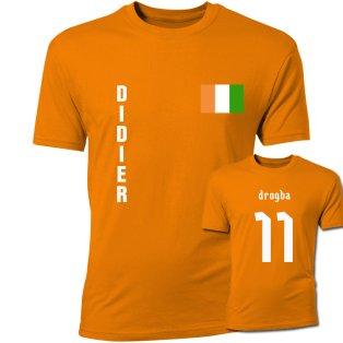 Didier Drogba Ivory Coast Flag T-Shirt (Orange)