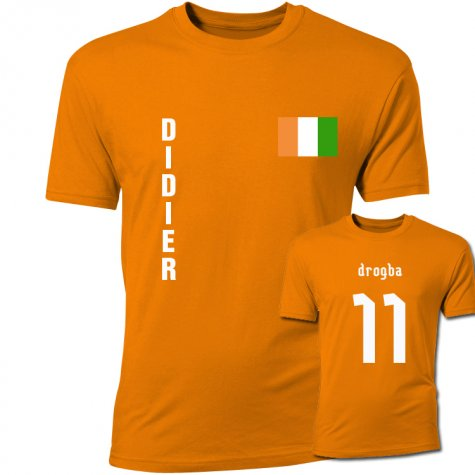 didier drogba ivory coast flag t shirt orange