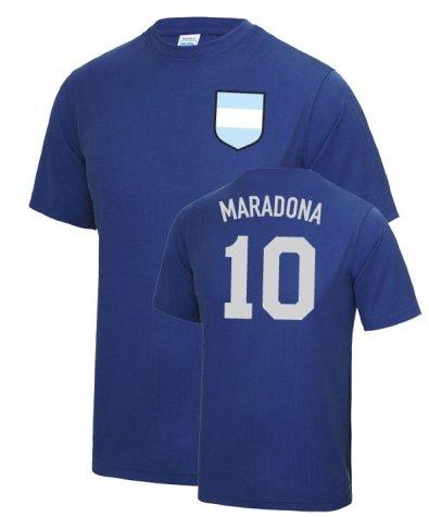Diego Maradona Hand Of God Argentina World Cup Football T Shirt - Dark Blue