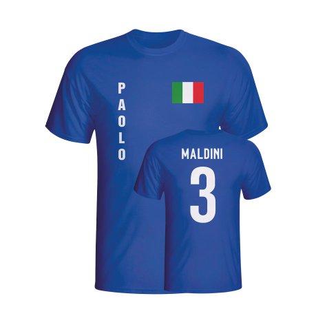 Paolo Maldini Italy Flag T-shirt (blue) - Kids