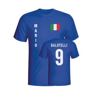 Mario Balotelli Italy Flag T-shirt (blue) - Kids