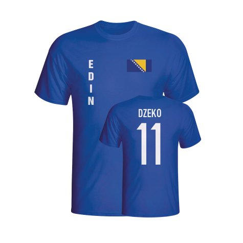 Edin Dzeko Bosnia Flag T-shirt (blue)