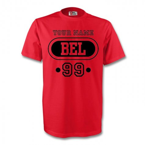 Belgium Bel T-shirt (red) + Your Name