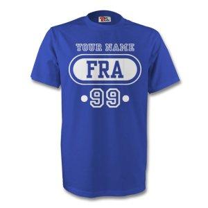 France Fra T-shirt (blue) + Your Name (kids)