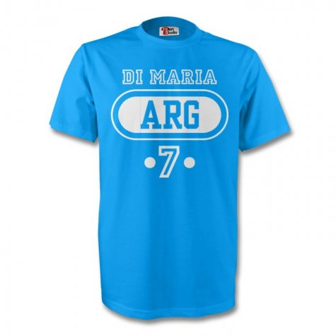 Angel Di Maria Argentina Arg T-shirt (sky Blue)