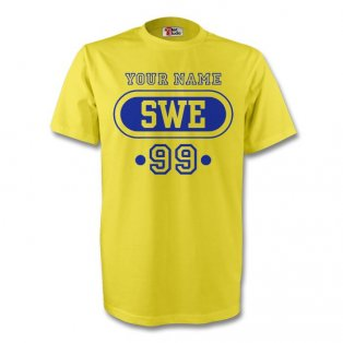 Sweden Swe T-shirt (yellow) + Your Name