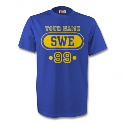 Sweden Swe T-shirt (blue) + Your Name