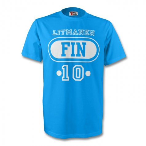Jari Litmanen Finland Fin T-shirt (sky Blue)