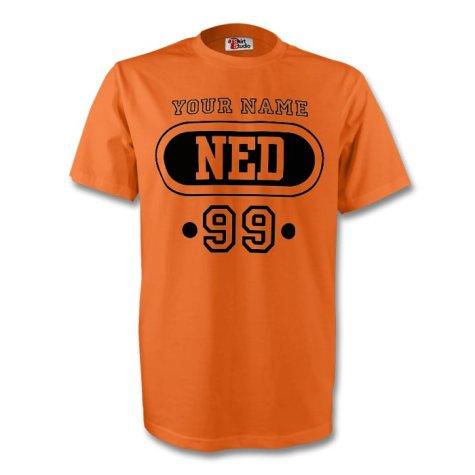Holland Ned T-shirt (orange) + Your Name (kids)