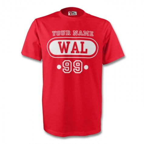 Wales Wal T-shirt (red) + Your Name (kids)