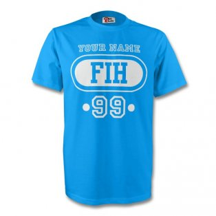 Faroe Islands Fih T-shirt (sky Blue) + Your Name