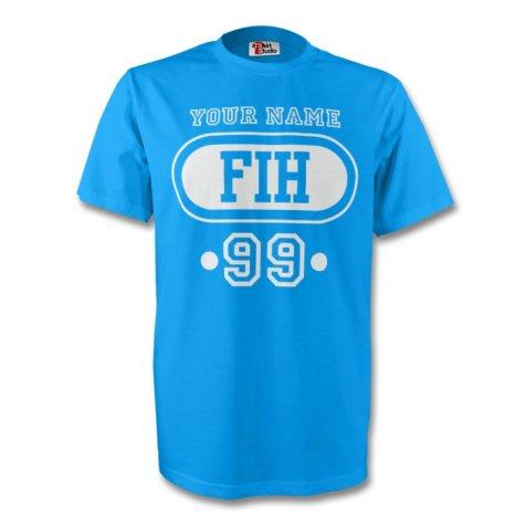 Faroe Islands Fih T-shirt (sky Blue) + Your Name (kids)