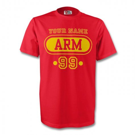 Armenia Arm T-shirt (red) + Your Name