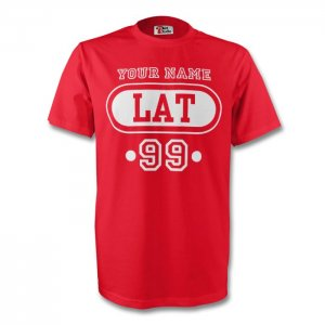 Latvia Lat T-shirt (red) + Your Name (kids)