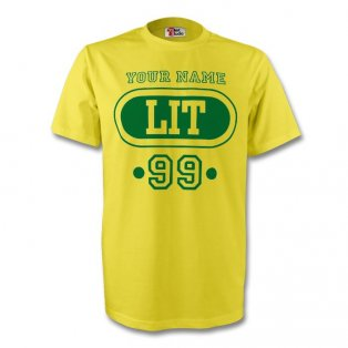 Lithuania Lit T-shirt (yellow) + Your Name