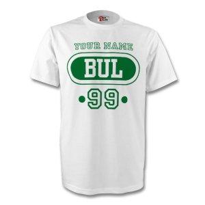 Bulgaria Bul T-shirt (white) + Your Name