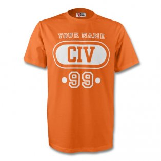 Ivory Coast Civ T-shirt (orange) + Your Name