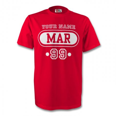 Morocco Mar T-shirt (red) + Your Name (kids)