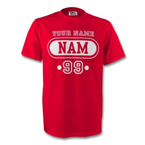 Namibia Nam T-shirt (red) + Your Name (kids)
