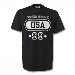 United States Usa T-shirt (black) + Your Name (kids)