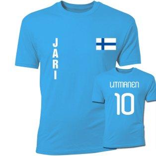 Jari Litmanen Finland Flag T-Shirt (Sky Blue)