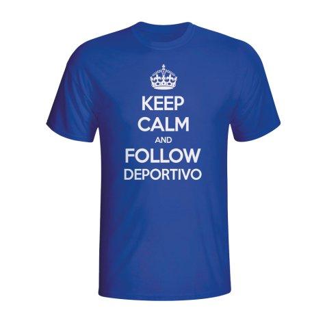 Keep Calm And Follow Deportivo T-shirt (blue) - Kids