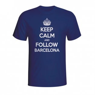 Keep Calm And Follow Barcelona T-shirt (navy) - Kids