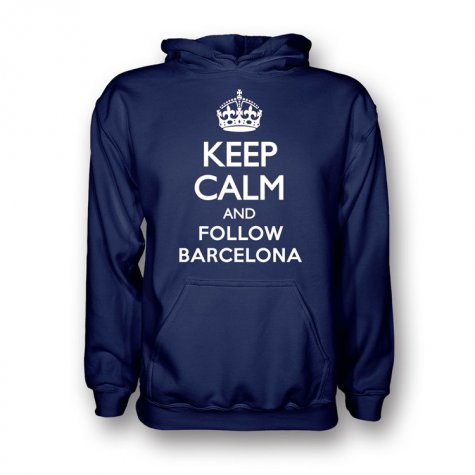 Keep Calm And Follow Barcelona Hoody (navy)