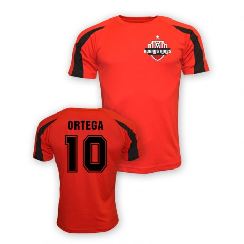 Ariel Ortega River Plate Sports Training Jersey (red)