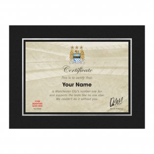 Personalised Manchester City No 1 Fan Certificate in Freestanding Strut Mount
