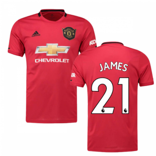 2019-2020 Man Utd Adidas Home Football Shirt (Kids) (James 21)