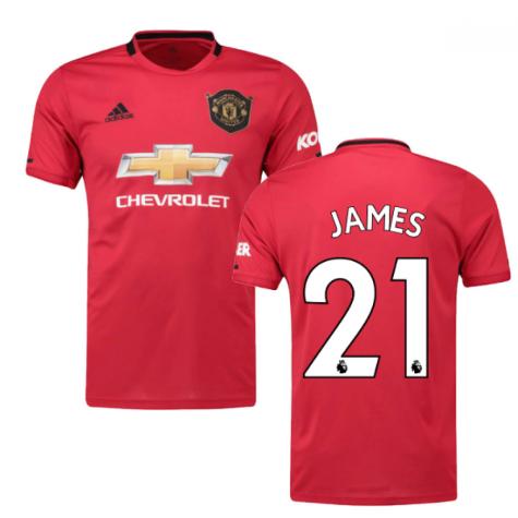 2019-2020 Man Utd Adidas Home Football Shirt (Kids) (James 21)