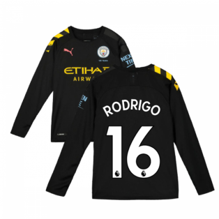2019-2020 Manchester City Puma Away Long Sleeve Shirt (Kids) (Rodrigo 16)
