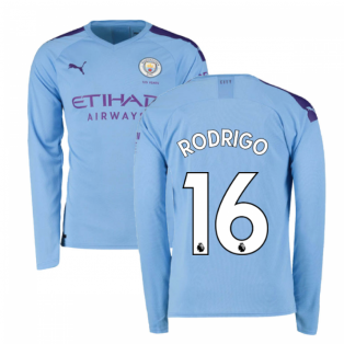 2019-2020 Manchester City Puma Home Long Sleeve Shirt (Rodrigo 16)
