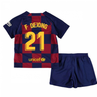 2019-2020 Barcelona Home Nike Little Boys Mini Kit (F De Jong 21)
